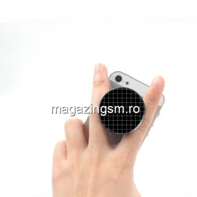 Suport telefon iPhone Samsung Nokia HTC Stand Finger Grip Alb cu Negru