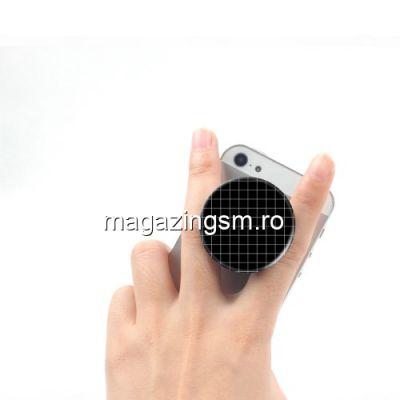 Suport telefon iPhone 6 Plus Stand Finger Grip Alb cu Negru