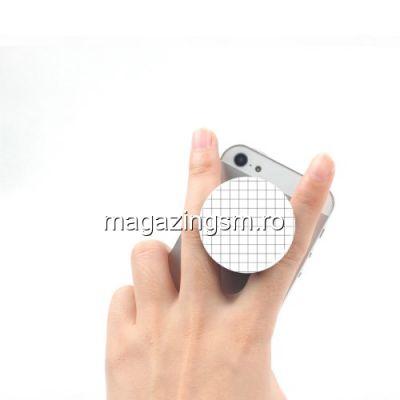 Suport Telefon iPhone XS Stand Finger Grip Universal Neagru Cu Alb